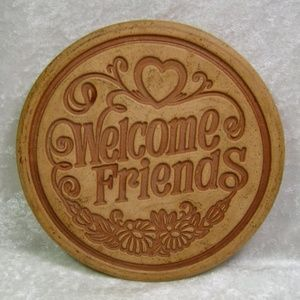 Iron Wall Plaque Sign Welcome Friends 1987 Vintage